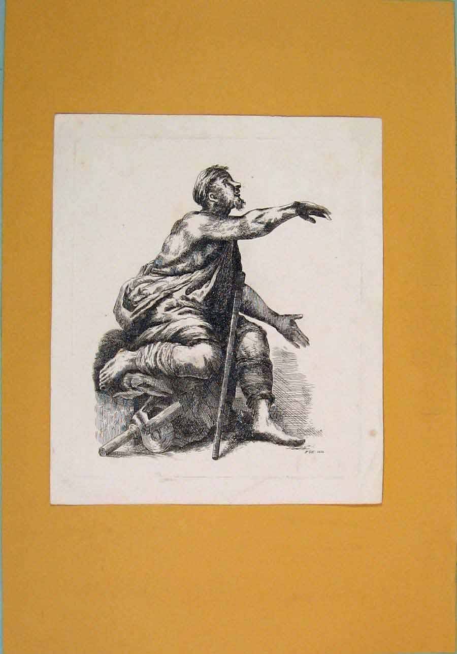 [Print 1833 Man Cloth Begging Poor Fine Art 776051 Old Original]