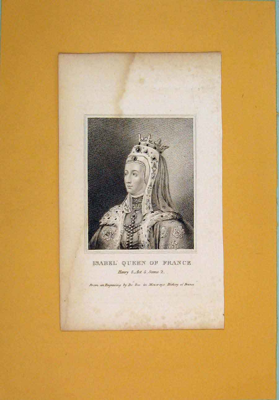 Print Isabel Queen France Play Henry Portrait C1792 036061 Old Original