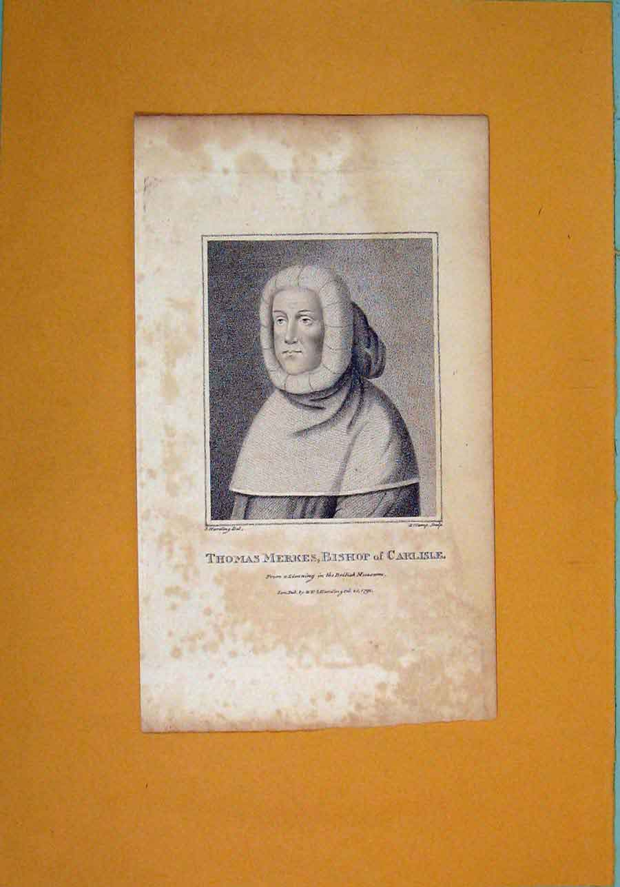 Print Thomas Merkes Bishop Carlisle Fine Art Portrait C1792 046061 Old Original