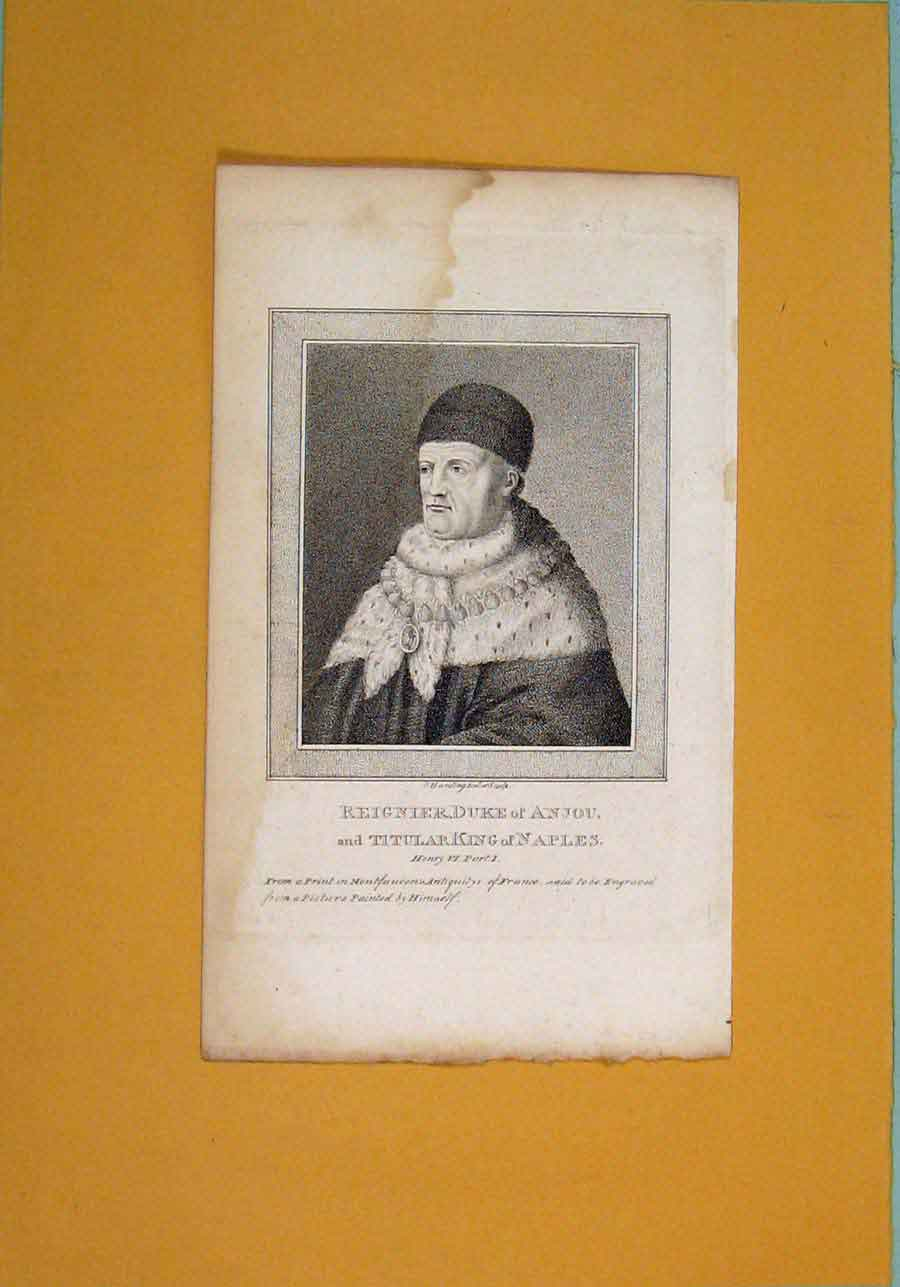 Print Reignier Duke Anjou Titular King Nmaples Henry Portrait 076061 Old Original