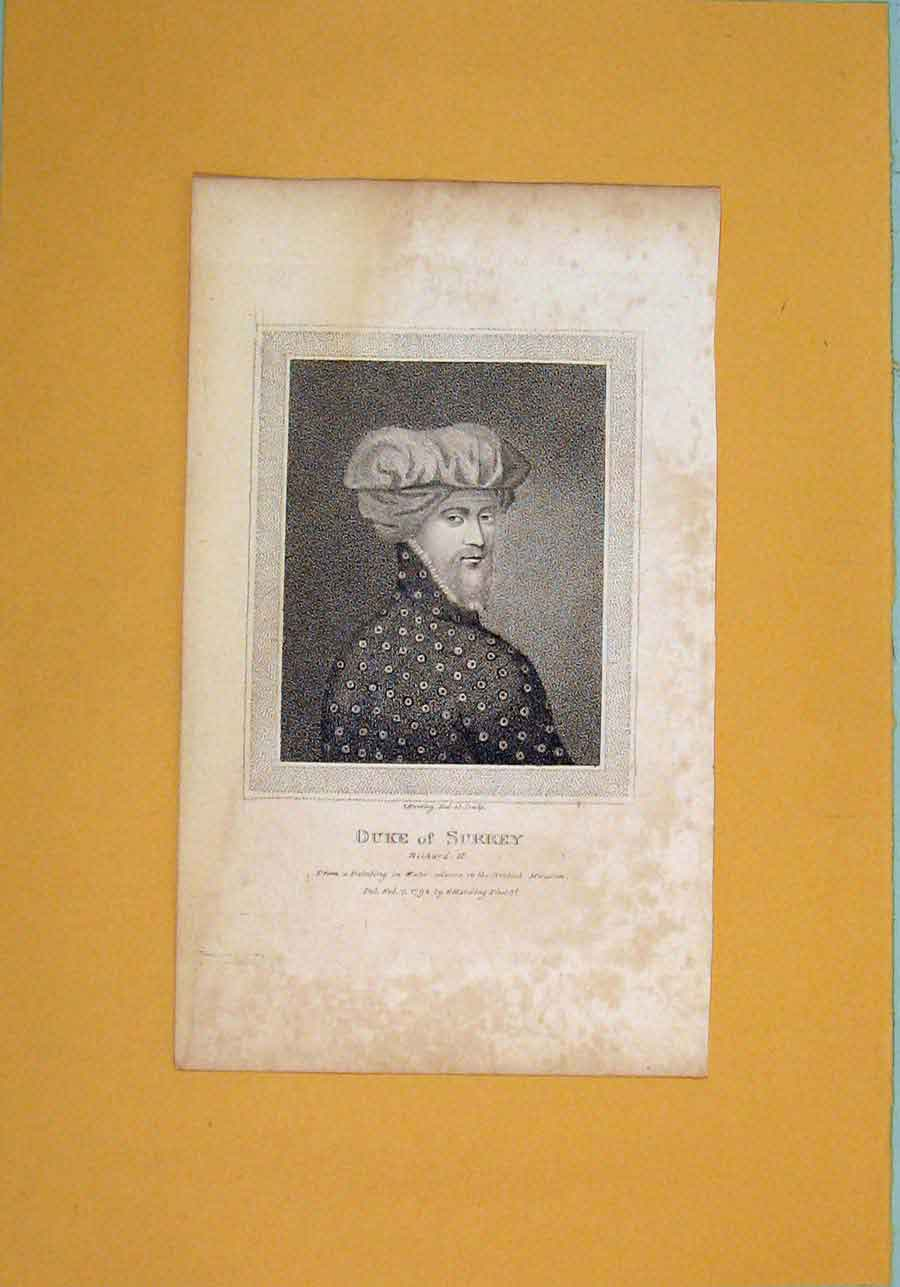 Print Duke Surrey Richard Ii Portrait C1792 206061 Old Original