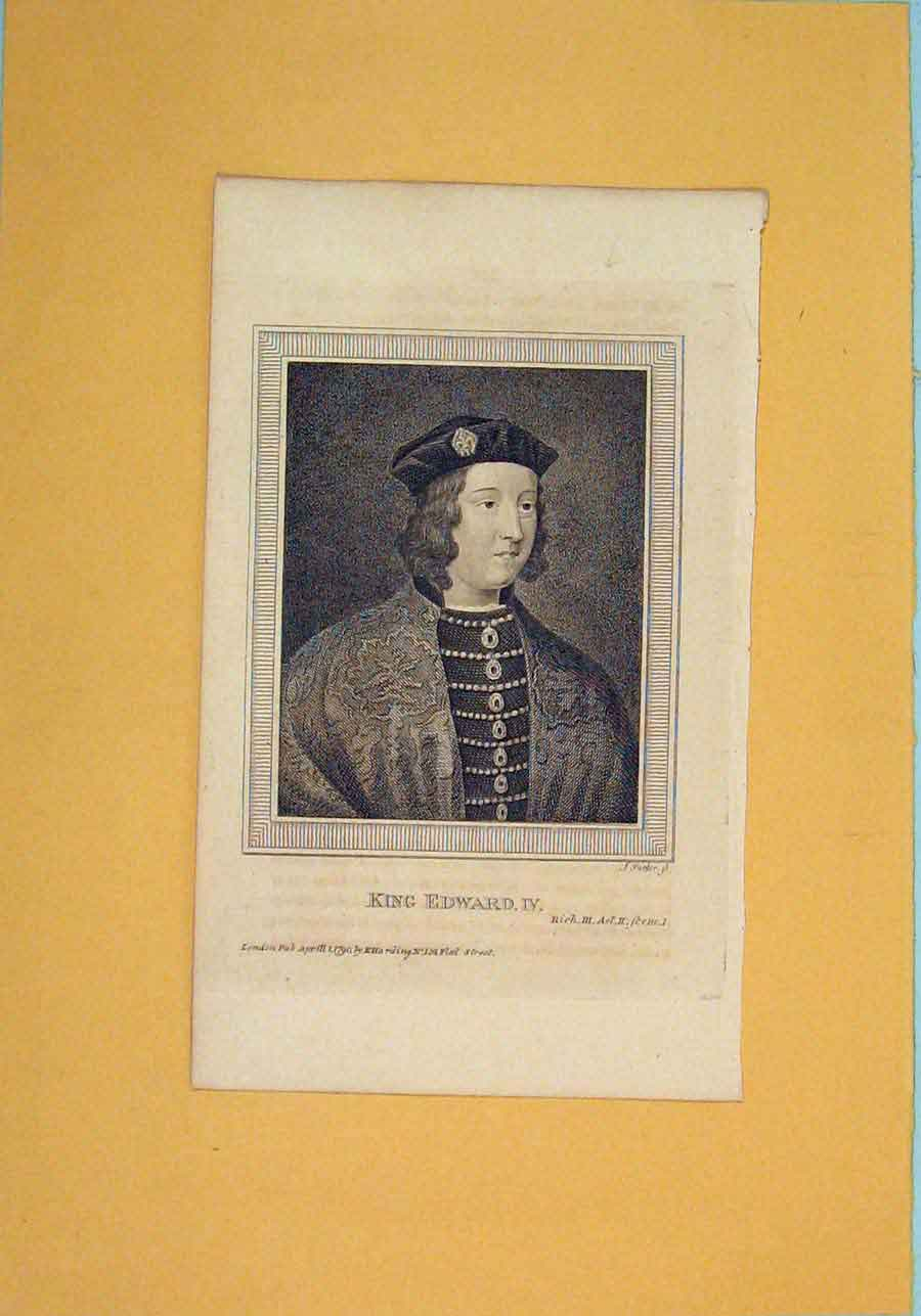 Print King Edward Iv Richard Act Portrait C1792 216061 Old Original