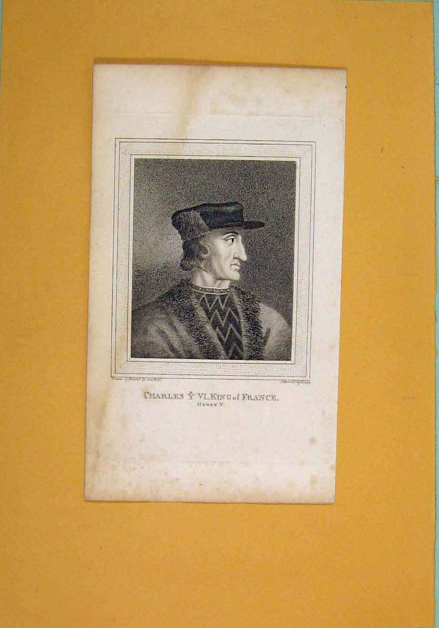 Print Charles King France Henry V Act Portrait 256061 Old Original