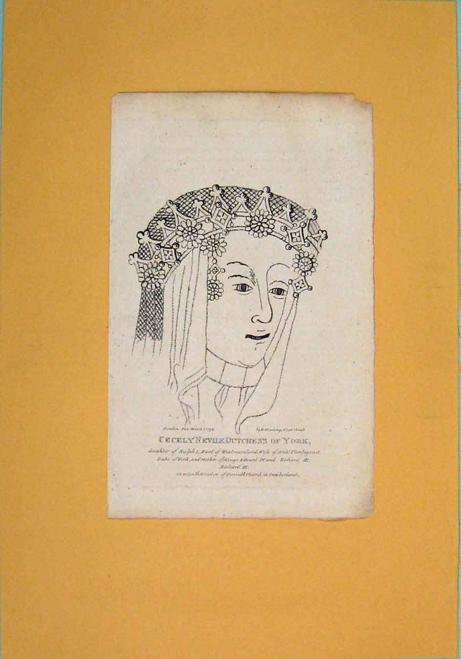 Print Cecley Nevile Dutchess York Potrait C1792 806061 Old Original