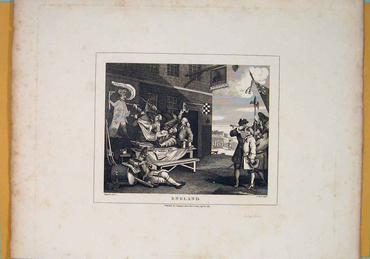 Print England Paint Painting Murel King Hogarth C1807 006071 Old Original