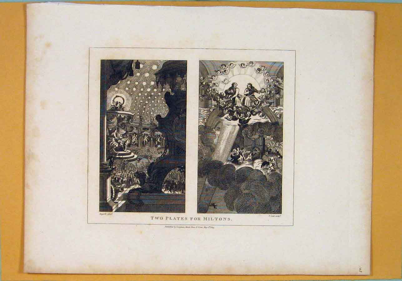 Print Two Plates Miltons Hogarth Fine Art 056071 Old Original