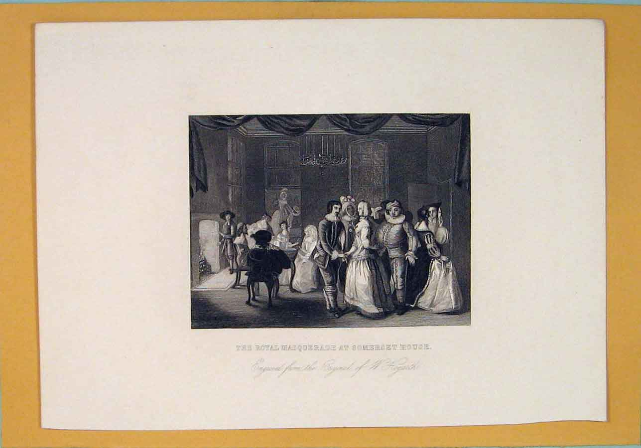 Print Roayl Masquerade Somerset House Hogarth Ball 166071 Old Original