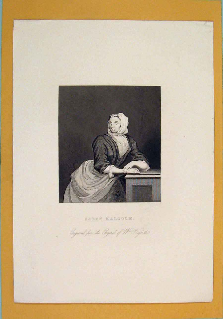 Print Sarah Malcom Hogarth Portrait 206071 Old Original