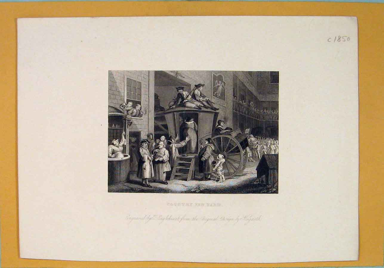 Print Country Inn Yard Hogarth Hotel Art C1850 246071 Old Original