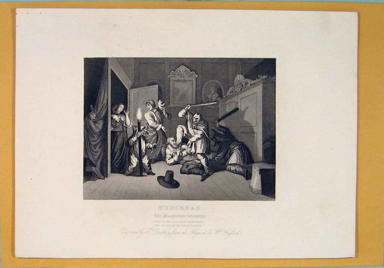 Print Hudibras Masquerade Adventure Battle Hogarth 1835 506071 Old Original