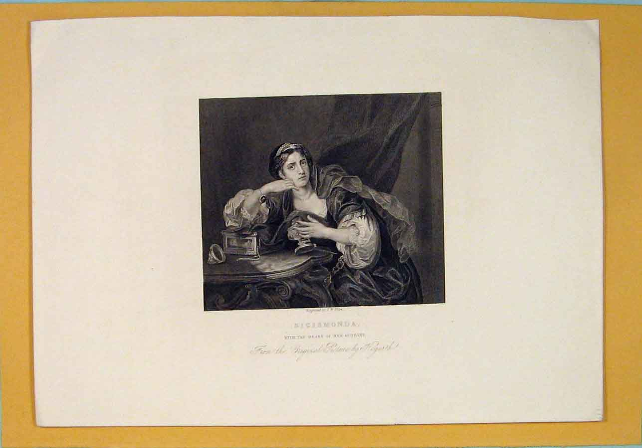 Print Sigismonda Death Husband Hogarth Portrait 576071 Old Original