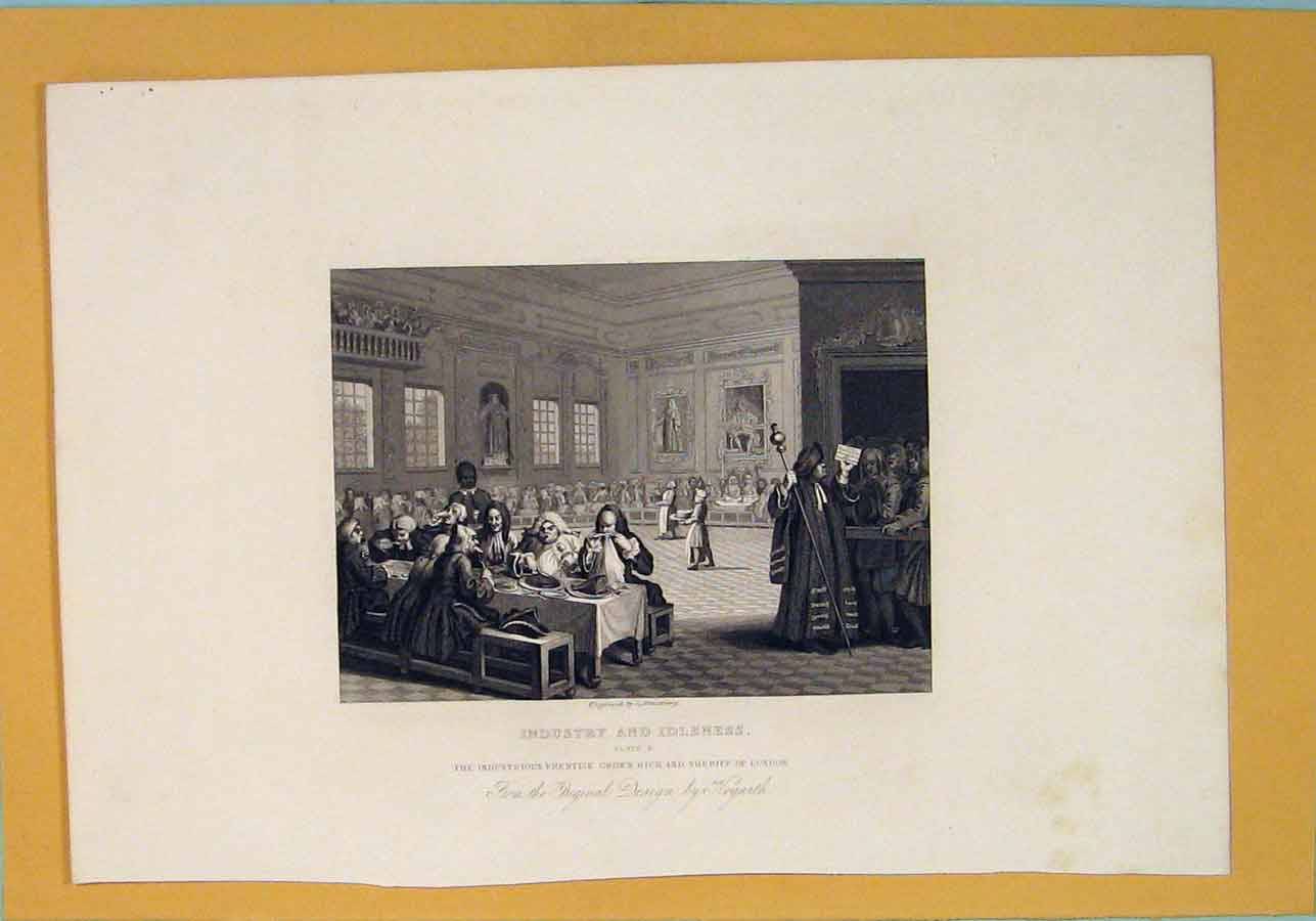 [Print Industry Indsutrial Sheriff London Hogarth C1835 666071 Old Original]