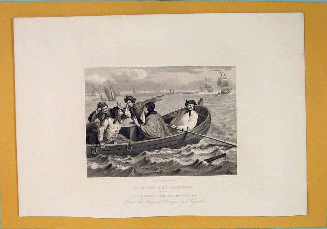 Print Industry Industrial Prentice Sea Boat Hogarth Art C1835 696071 Old Original