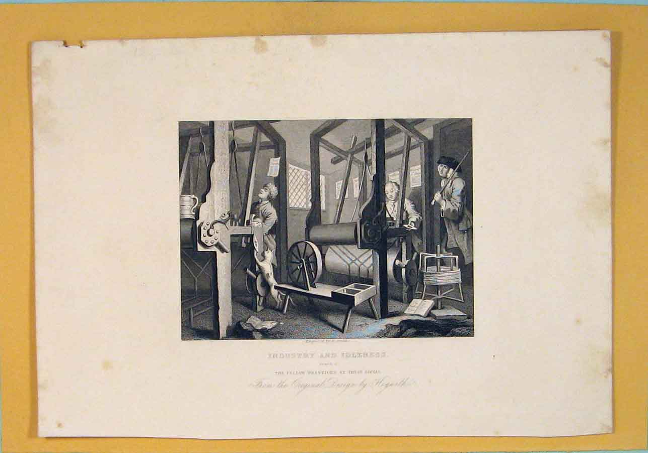 [Print Industry Industrial Looms Hogarth C1835 736071 Old Original]
