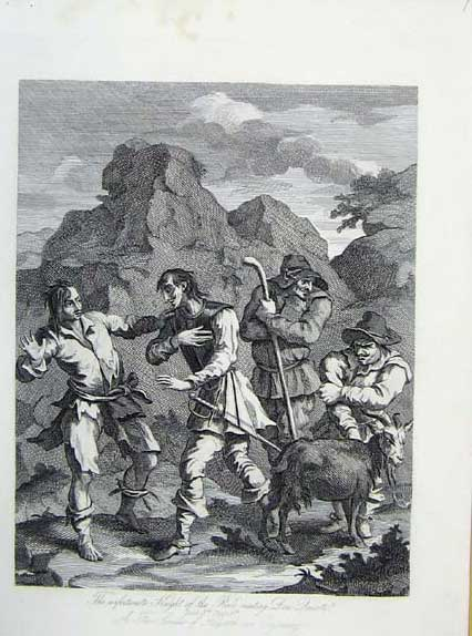 Print Knight Roack Meeting Son Suixote Hogarth C1835 886071 Old Original