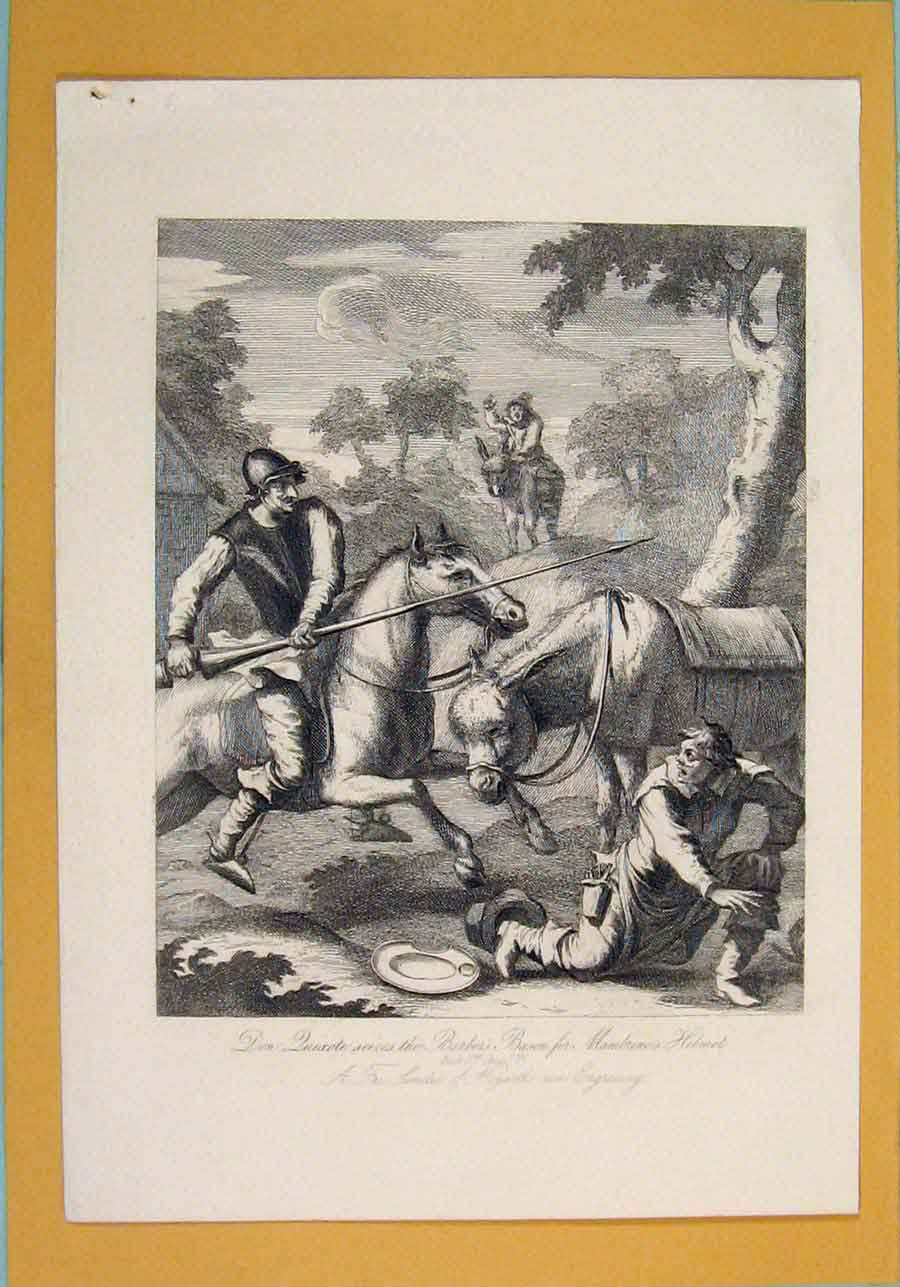 Print Don Duixcote Barber Bason Mambuno Helmet Hogarth 1835 916071 Old Original