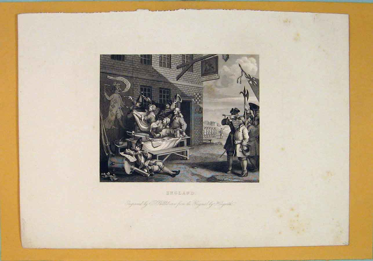 Print England Wall Paint Painting Hogarth Murel C1830 996071 Old Original