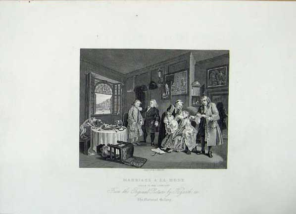 Print Marriage Mode Death Countess Hogarth 016071 Old Original
