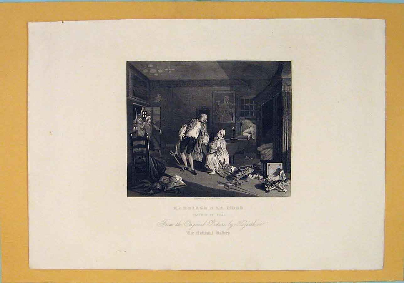 Print Marriage Mode Death Earl Hogarth Fine Art 026071 Old Original