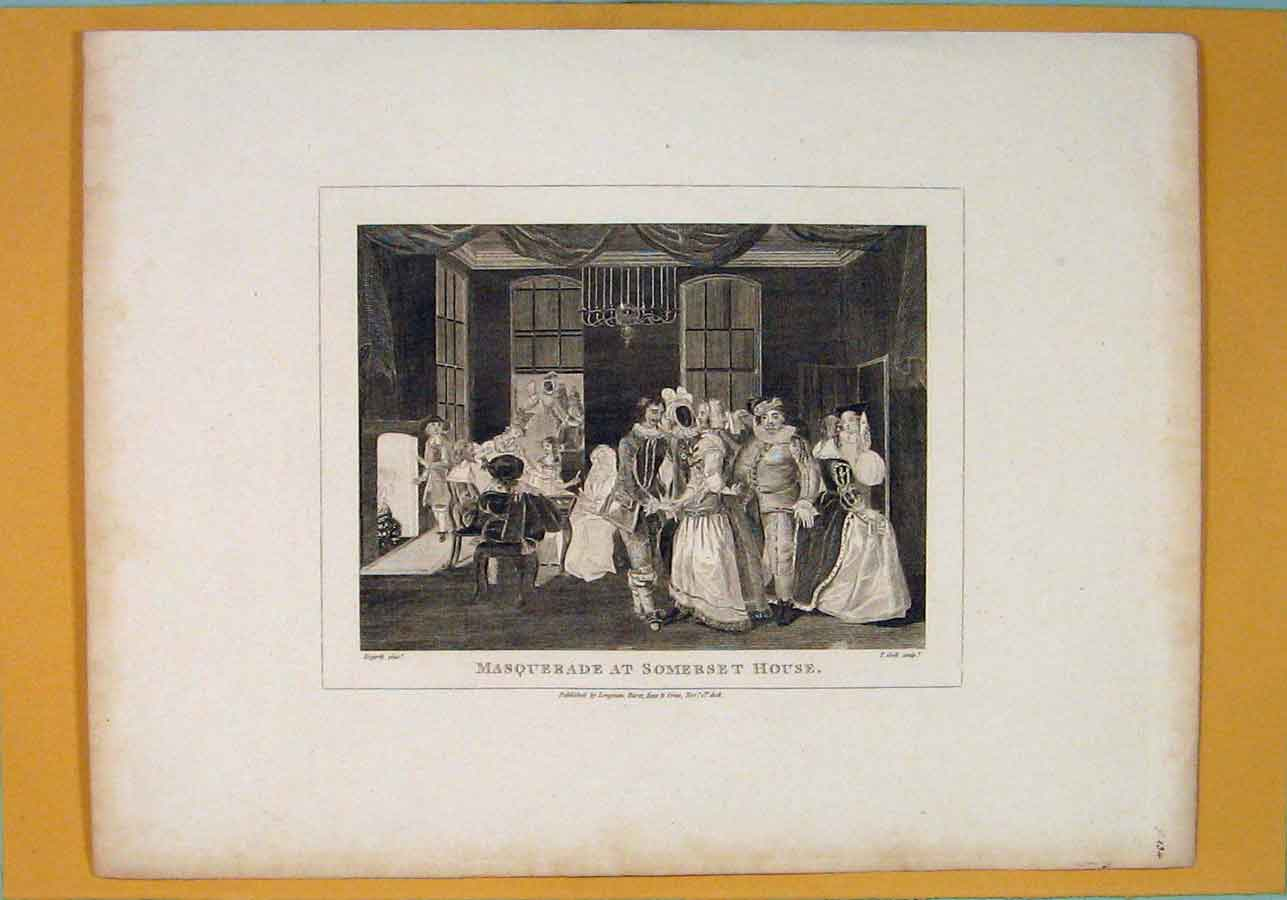 Print Masquerade Somerset House Hogarth C1809 106071 Old Original