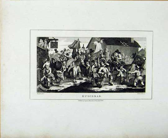 Print Hudibras Hogarth Celebration Party Battle 146071 Old Original