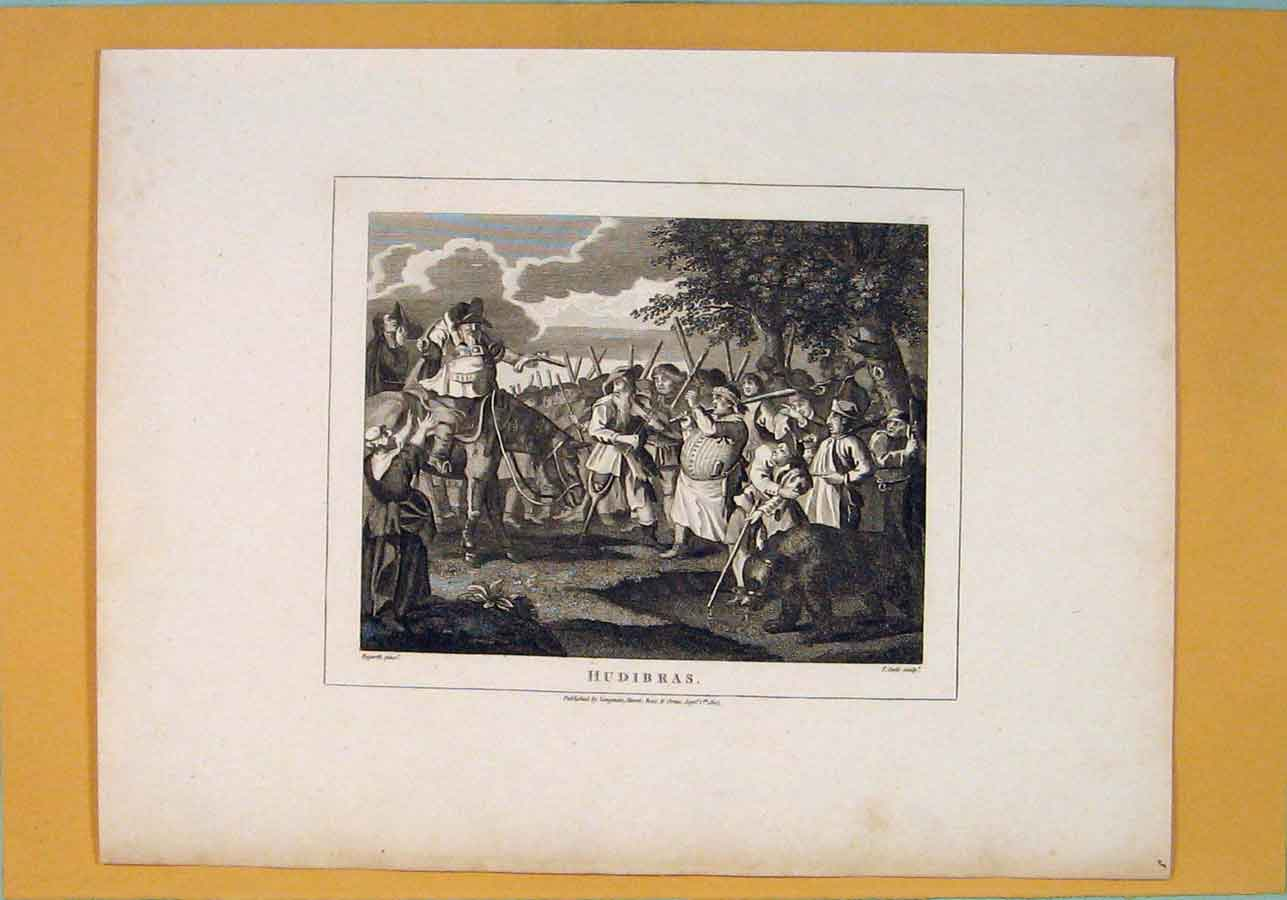 Print Hudibras Hogarth Battle Surrender C1807 186071 Old Original