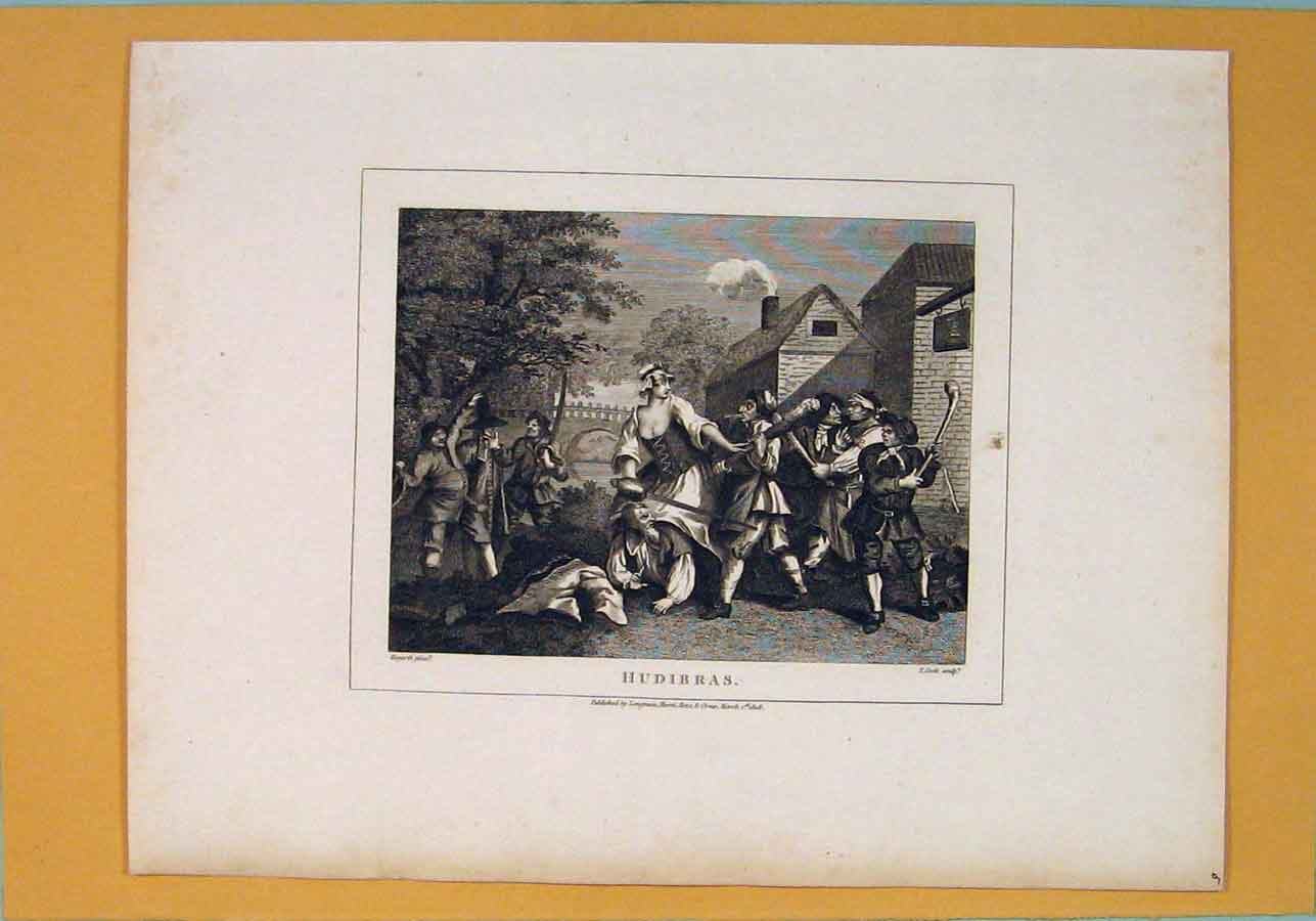 Print Hudibras Courting Dating Battle Art C1807 206071 Old Original