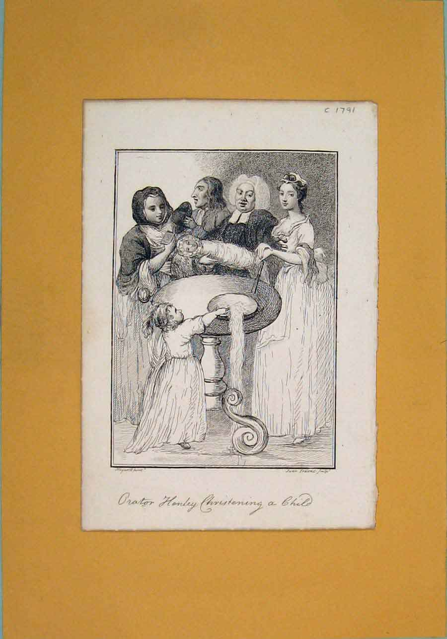Print Henly Christening Child Fine Art 1791 266071 Old Original