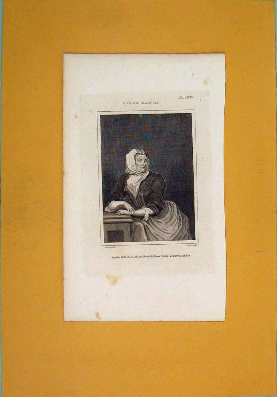 Print Sarah Malcom Maid Servant Portrait Art 286071 Old Original