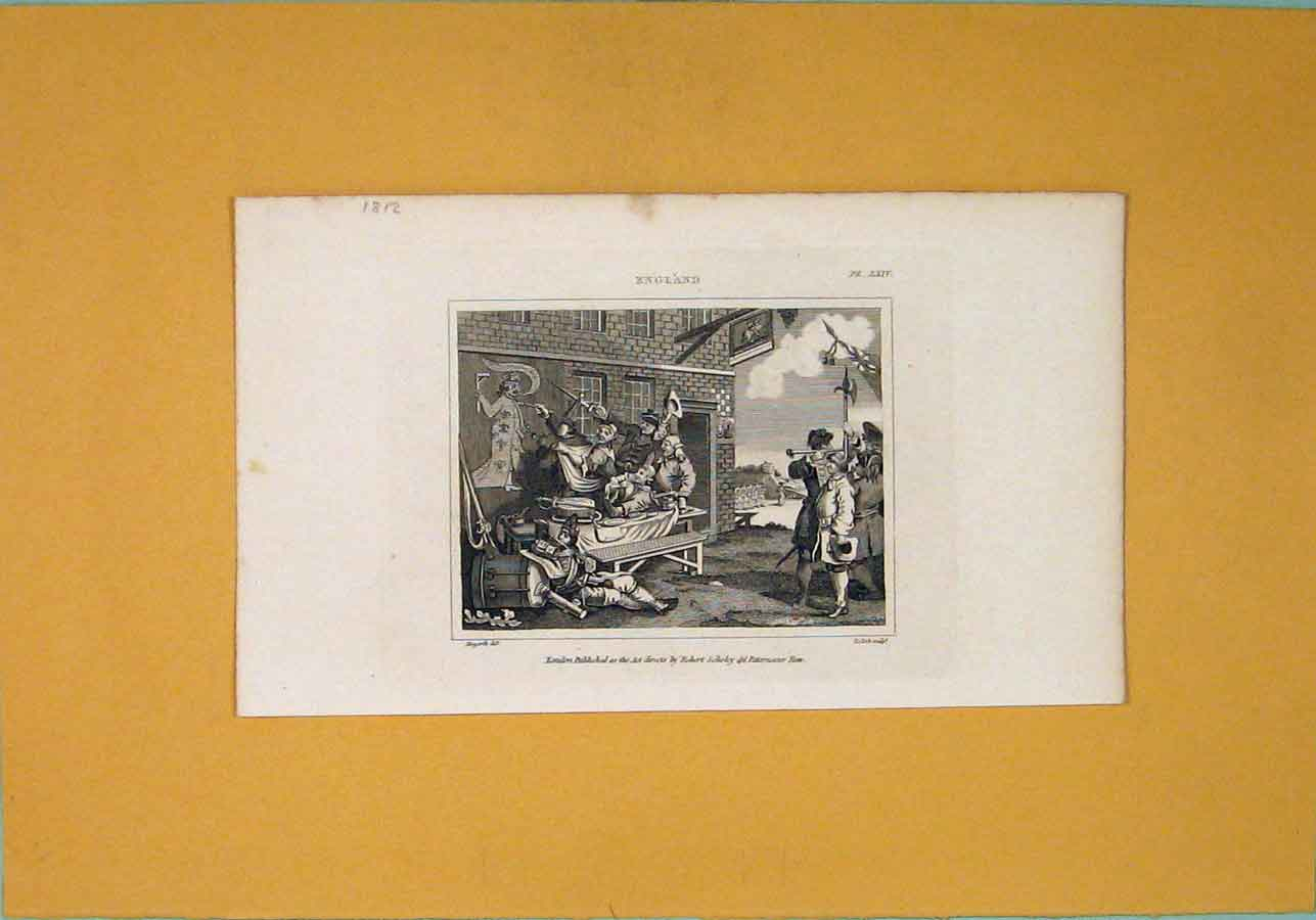 Print England Hogarth Wall Painting Murel King 326071 Old Original