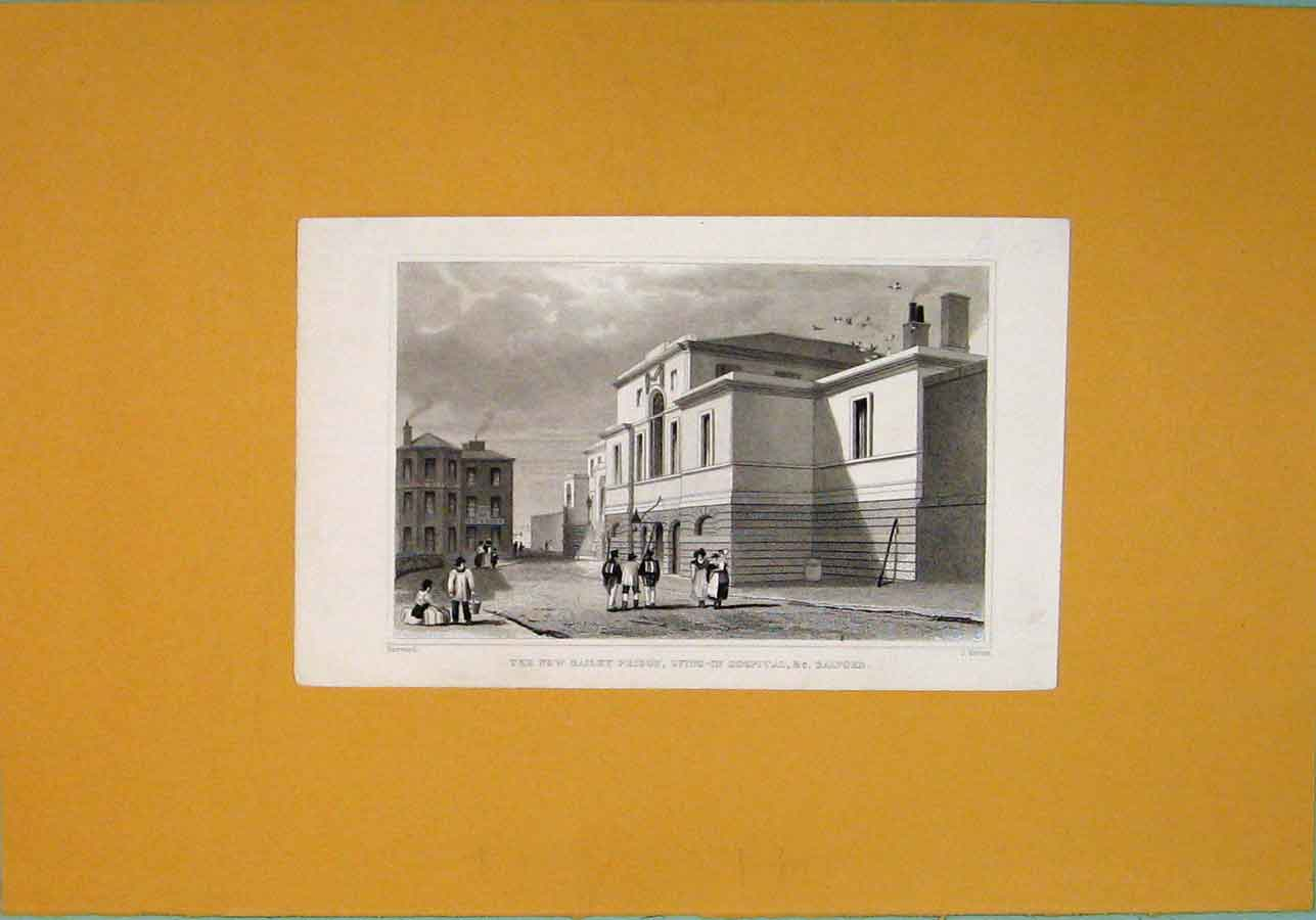 Print New Bailey Prison Lying In Hospitgal Salford 076091 Old Original