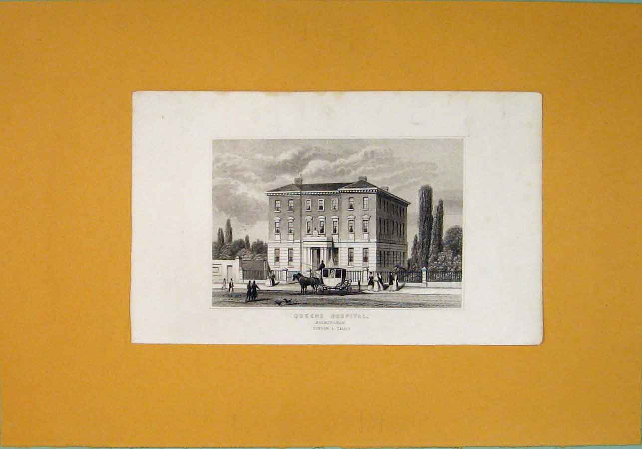 [Print C1845 Queens Hospital Birmingham Fine Art 086091 Old Original]