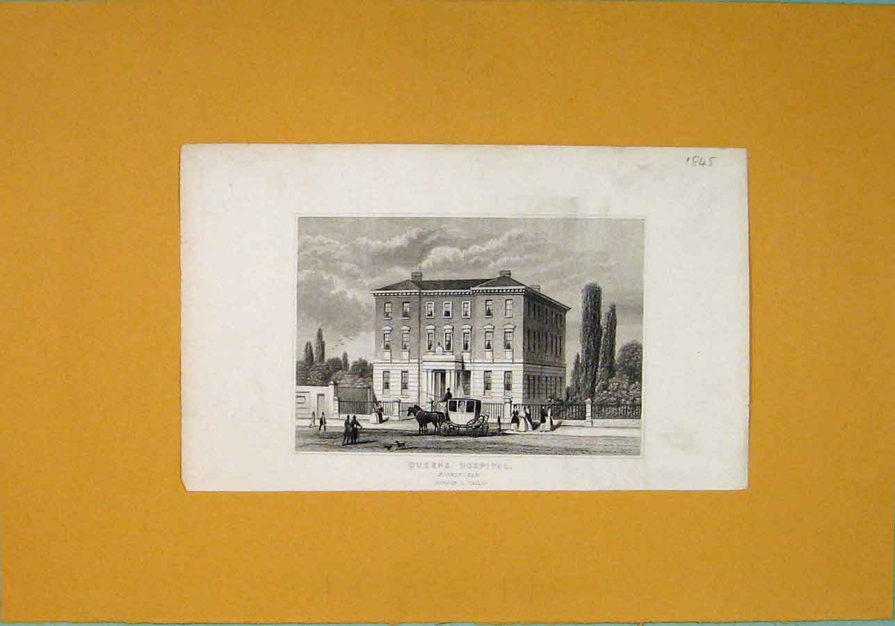 [Print Queens Hospital Birmingam Fine Art 216091 Old Original]
