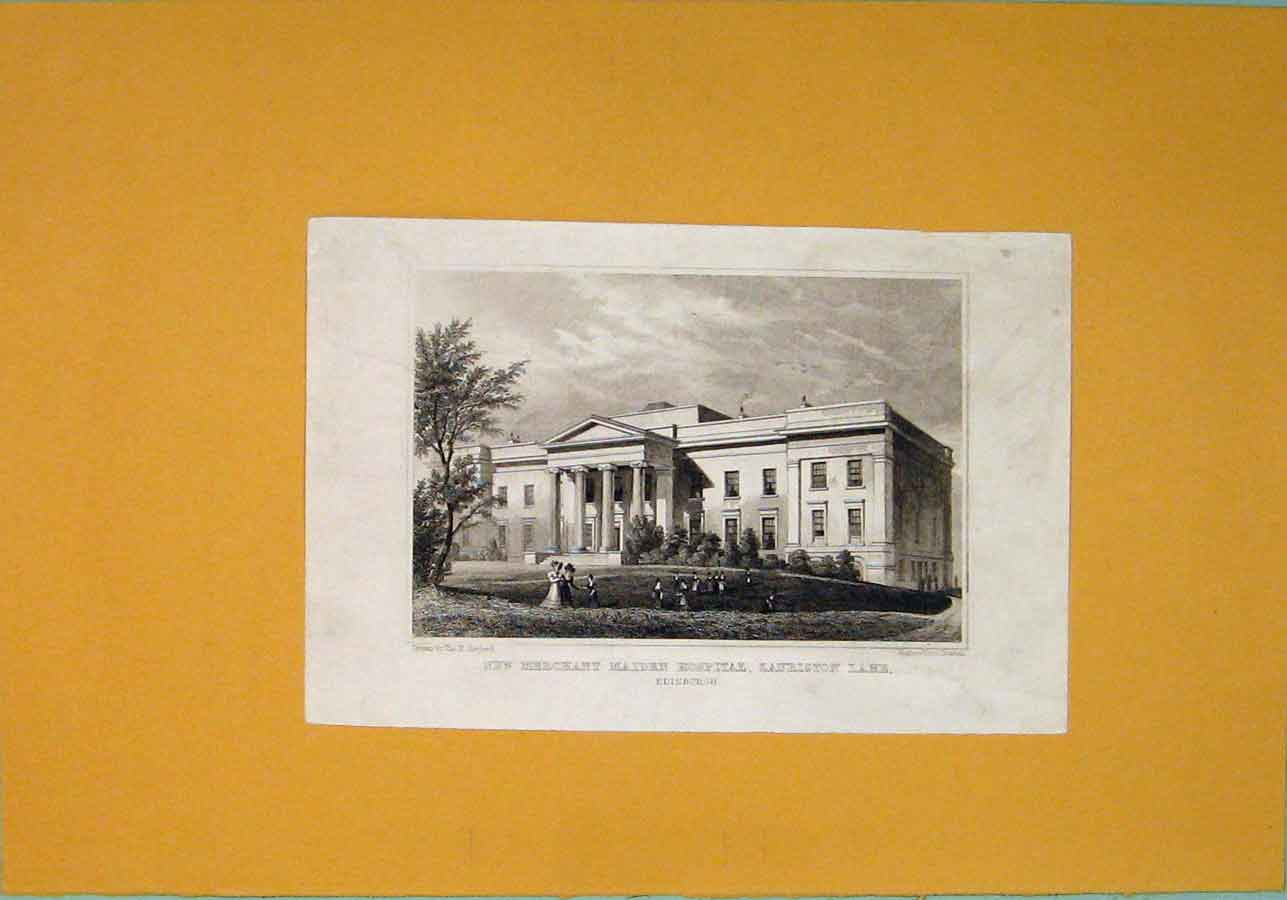 [Print C1829 Edinburgh New Merchant Maiden Hospital Lauriston 286091 Old Original]