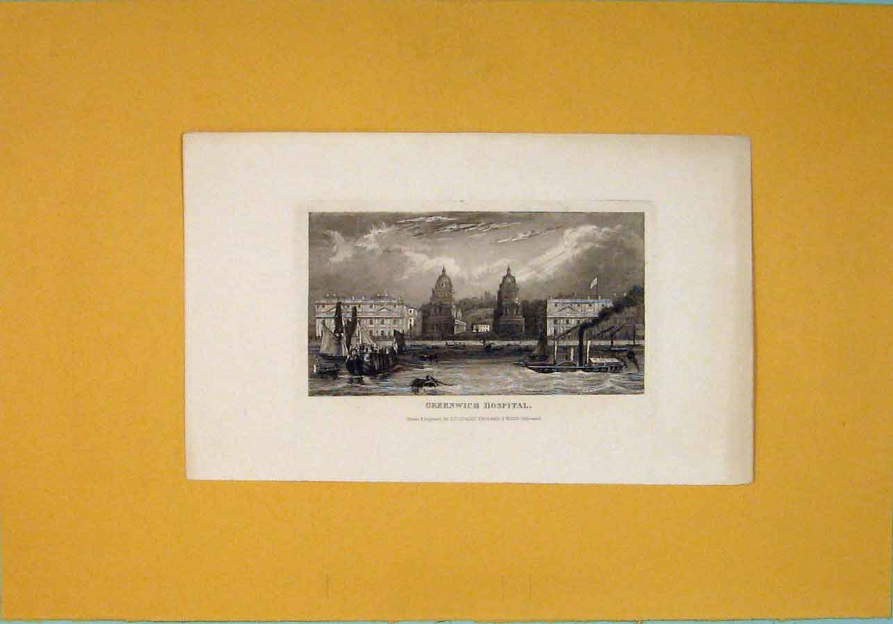 [Print Greenwhich Hospital Fine Art C1840 326091 Old Original]