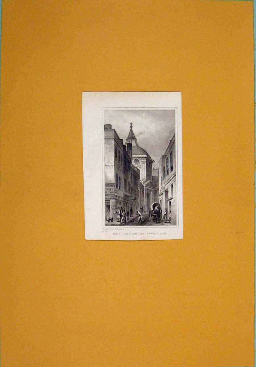 Print Physicians College Warwick Lane Fine Art 396091 Old Original