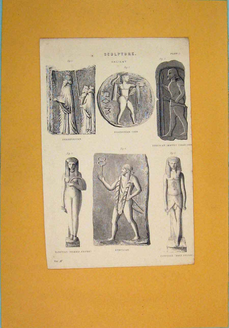 Print Sculpture Ancient Persepolitan Egyptian Female 976091 Old Original