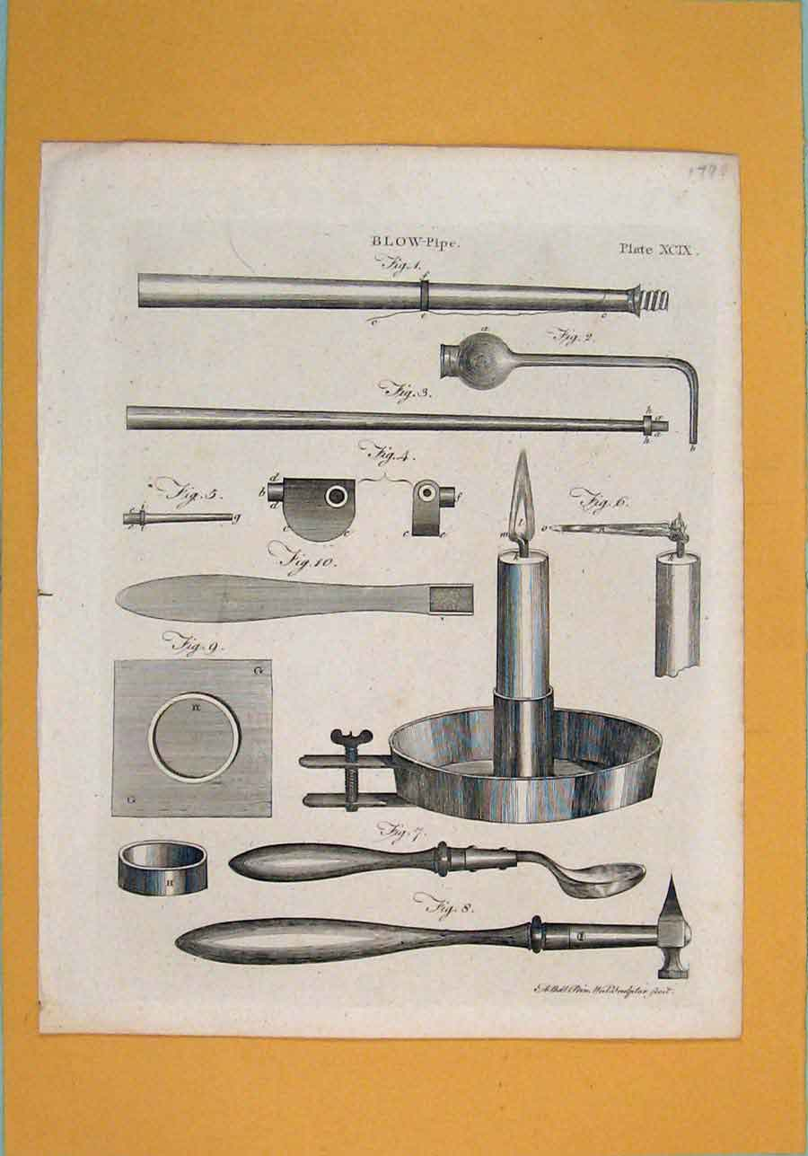 Print C1790 Blow Pipe Diagram Fine Art 116091 Old Original