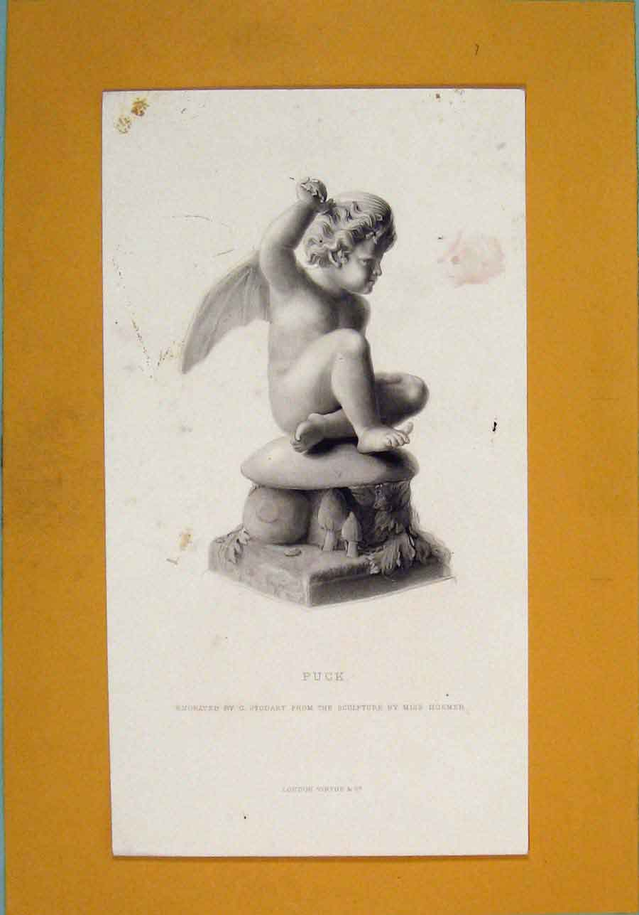 Print Sculpture Hosmer Engraved Stodart C1875 Art 026101 Old Original