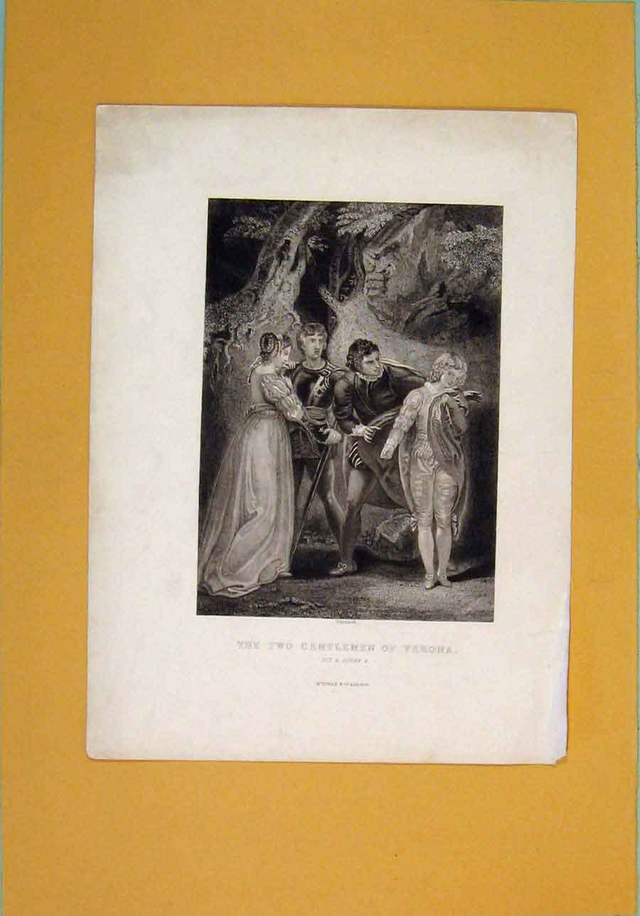 Print Portrait Gentleman Verona Act 5 Scene 4 556101 Old Original