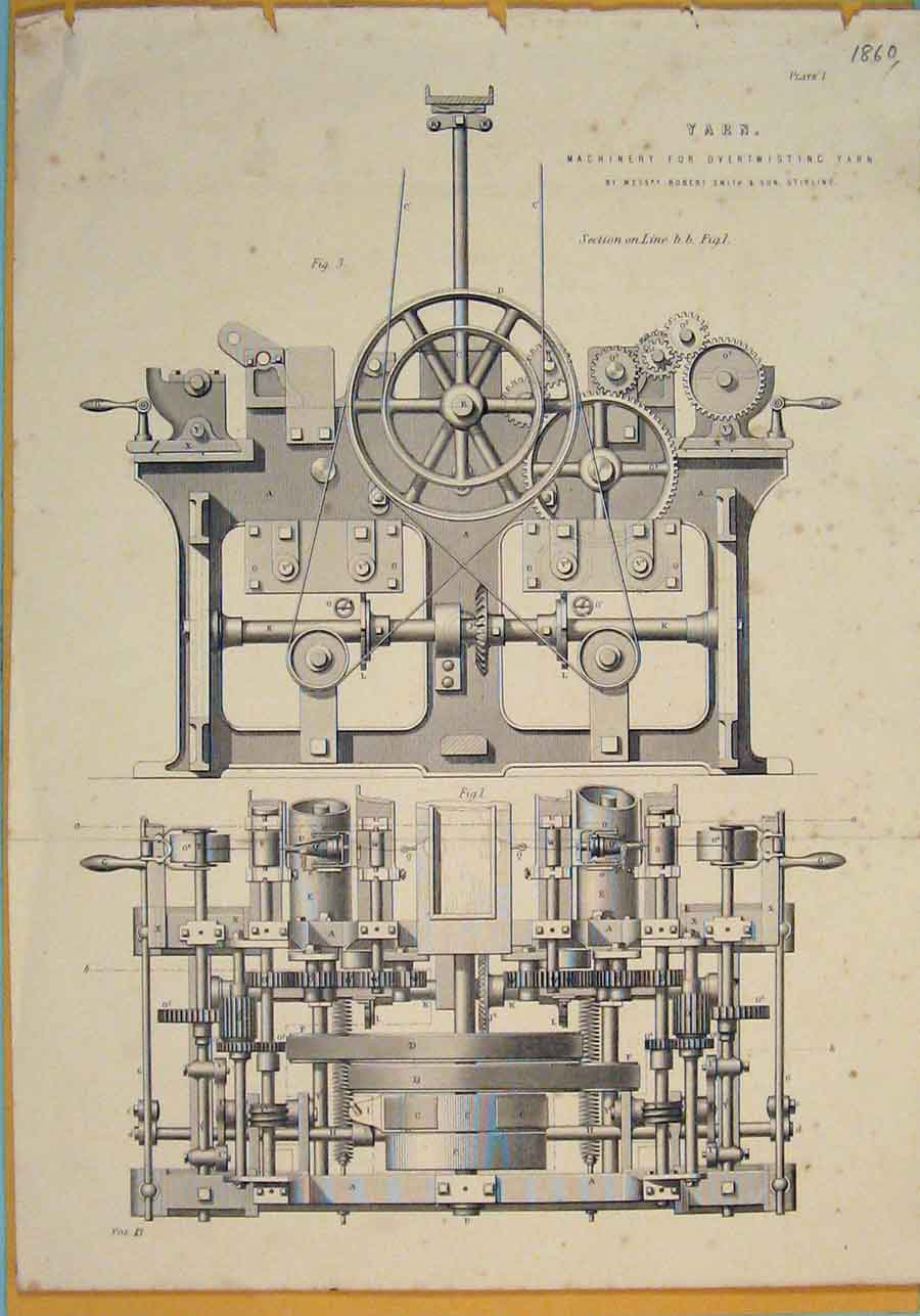 [Print Yarn C1860 Machinery Twisting Design Art 016111 Old Original]