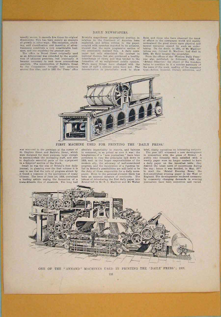 Print Machine Ing Daily Press Annand C1860 116111 Old Original