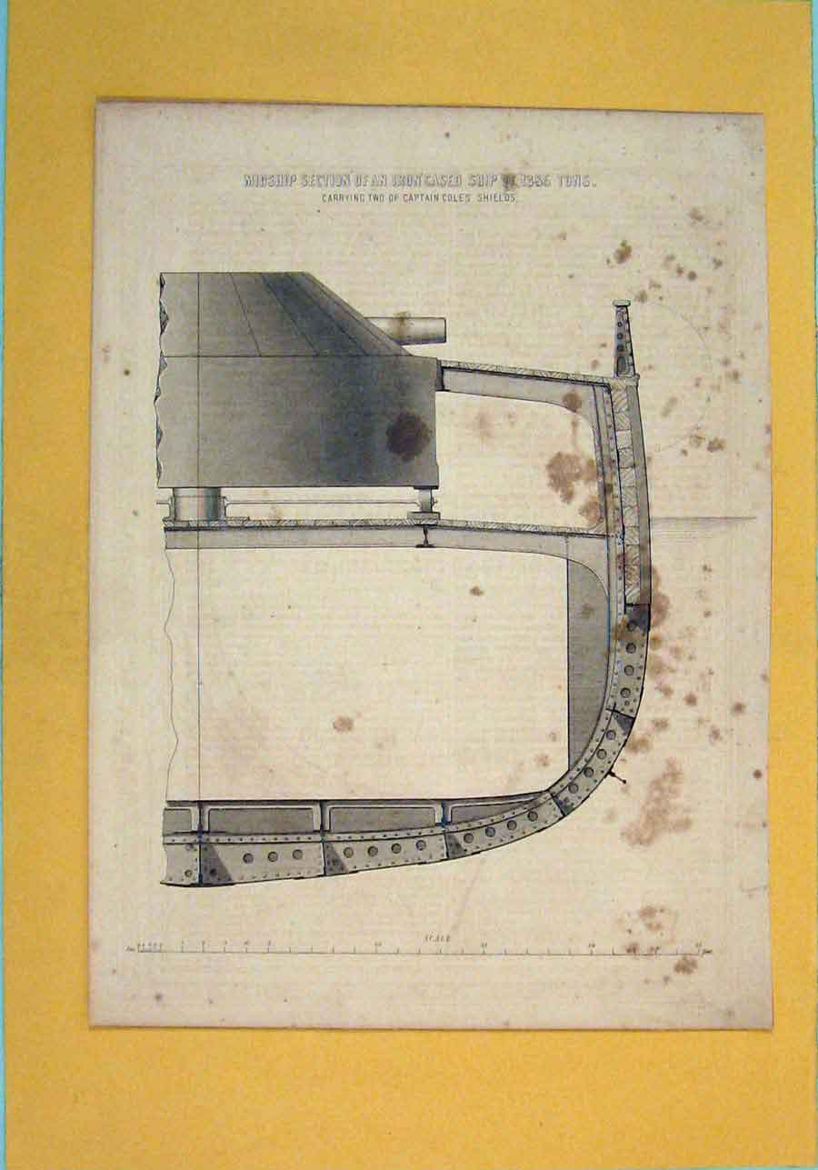 [Print Midship Section Iorn Cased Ship Design Architecture Art 146111 Old Original]