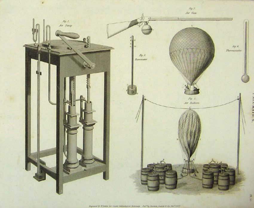 Print Pneumatics Design Architectural C1822 Art 176111 Old Original