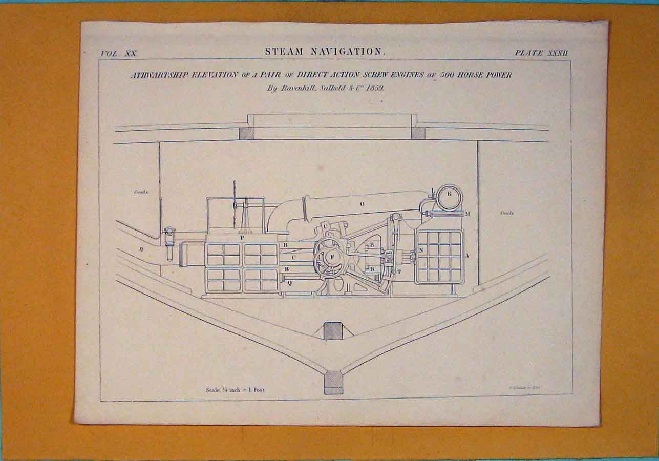 [Print C1860 Steam Navigation Design Architecture 186111 Old Original]