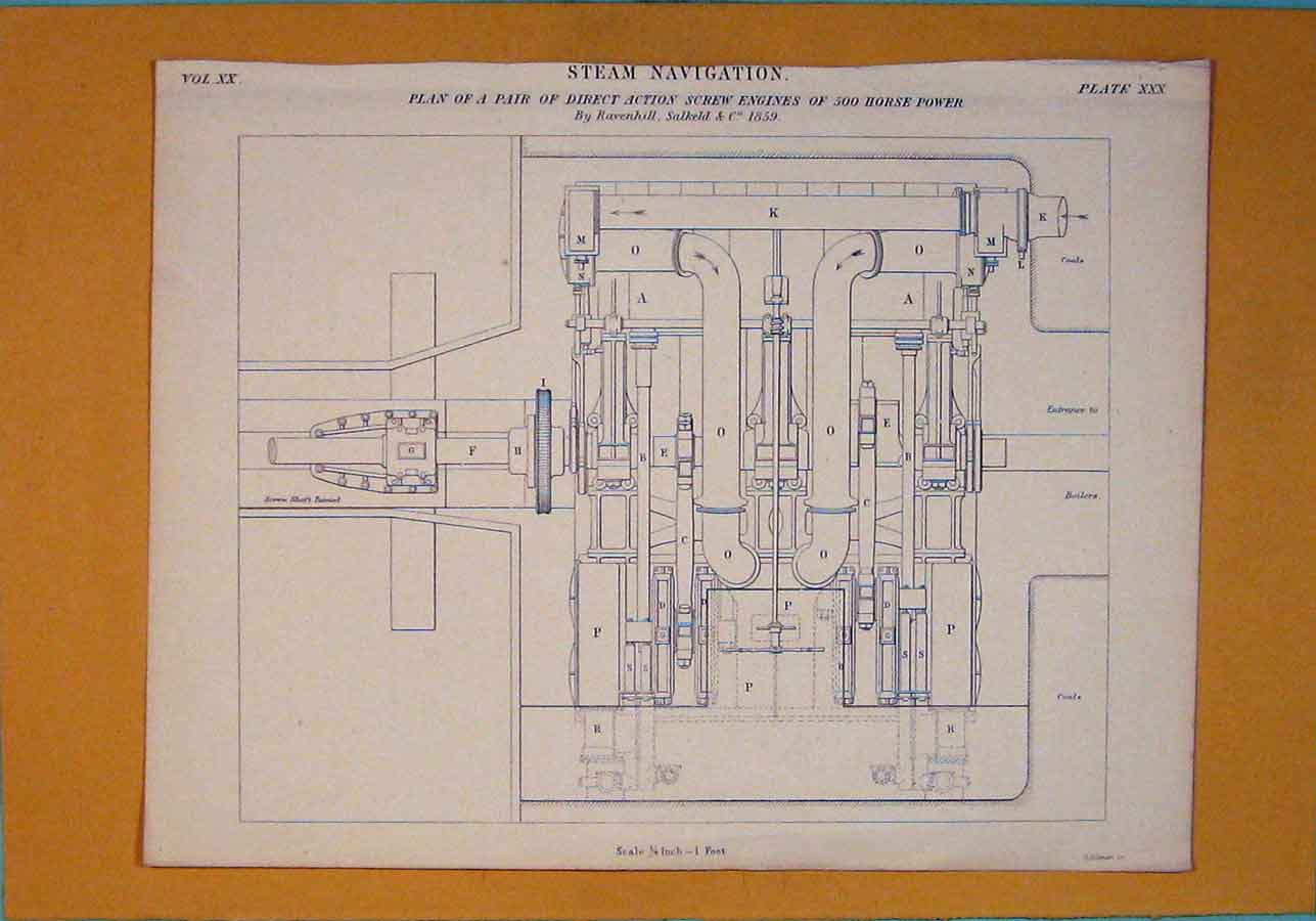 Print C1860 Steam Navigation Machine Engines Power 226111 Old Original