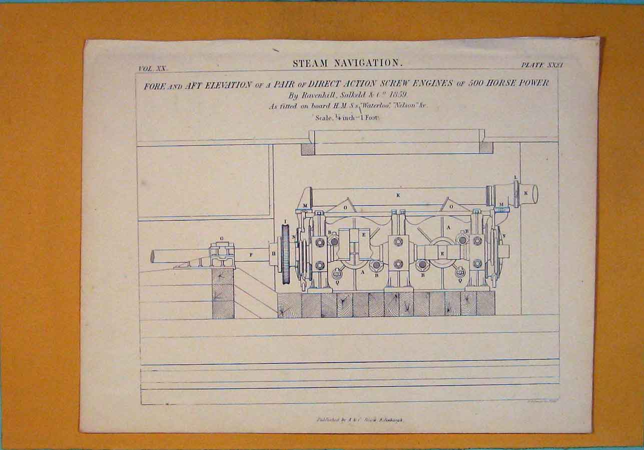 Print Steam Navigation Screw Engines Horse Power Architecture 256111 Old Original