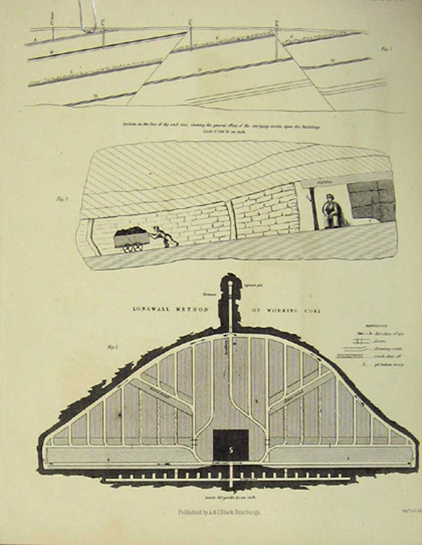 [Print Colliery Coal Design Architectural C1860 266111 Old Original]
