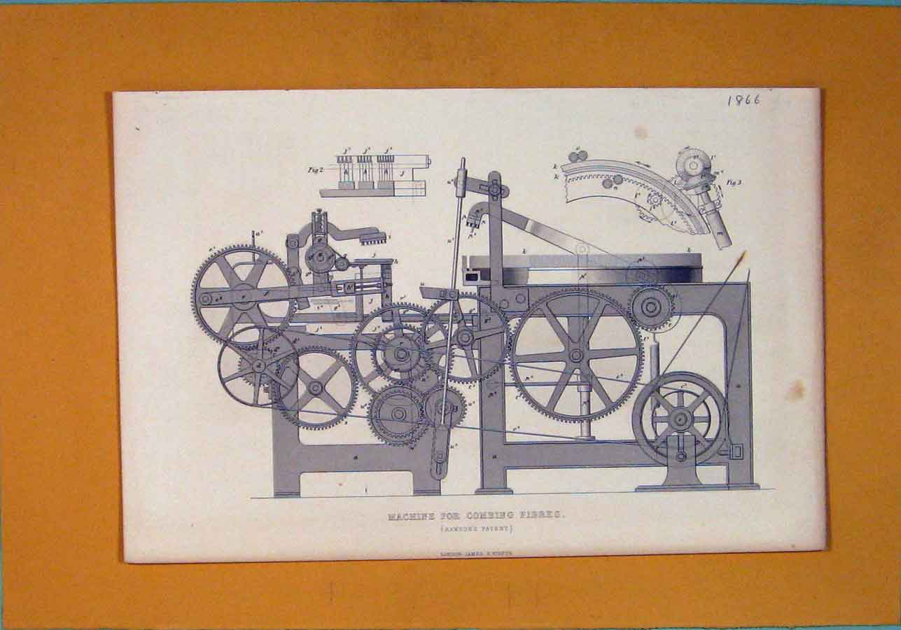 Print C1866 Machine Combing Fibres Architectural Design 856111 Old Original