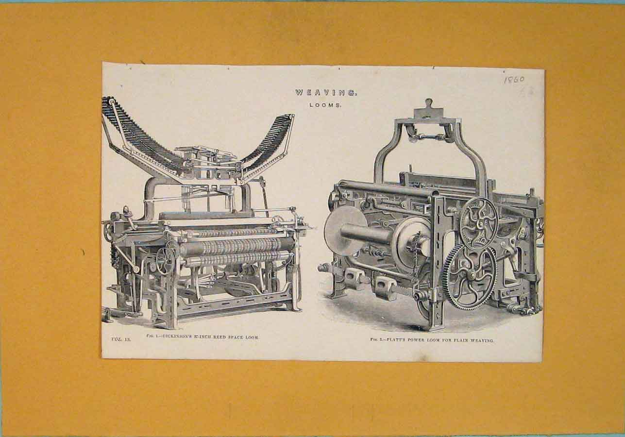 Print Weaving Looms C1860 Machine Architectural Design 866111 Old Original